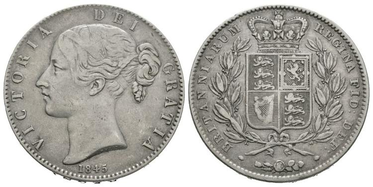 English Milled Coins - Victoria - 1845 VIII - Crown