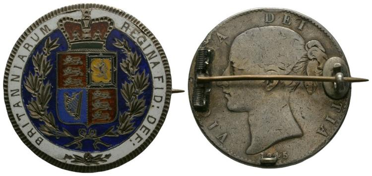 English Milled Coins - Victoria - 1845 VIII - Enamelled Crown Brooch