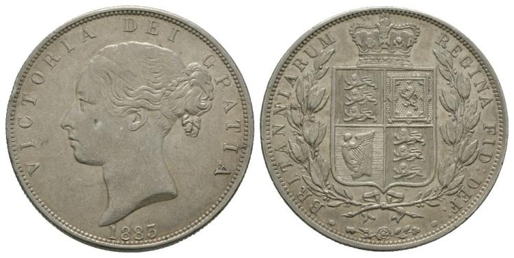 English Milled Coins - Victoria - 1883 - Halfcrown
