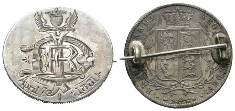 English Milled Coins - Victoria - Monogram 1881 Engraved Halfcrown Coin Brooch