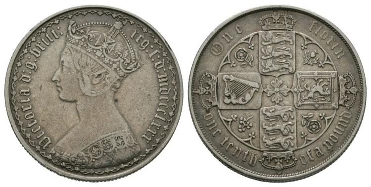 English Milled Coins - Victoria - 1880 - Gothic Florin