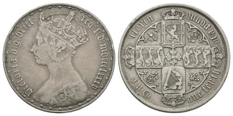 English Milled Coins - Victoria - 1885 - Gothic Florin