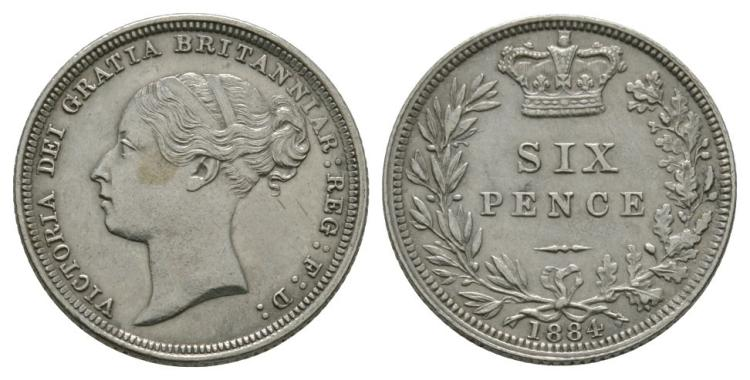 English Milled Coins - Victoria - 1884 - Sixpence