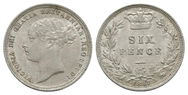 English Milled Coins - Victoria - 1887 YH - Sixpence