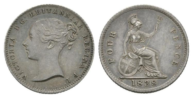 English Milled Coins - Victoria - 1838 - Groat