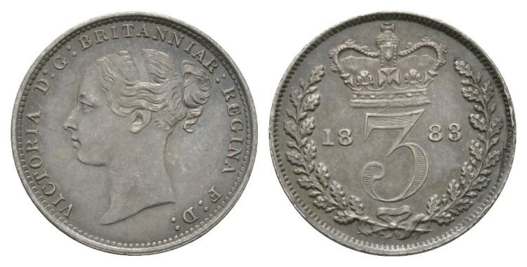 English Milled Coins - Victoria - 1883 - Threepence
