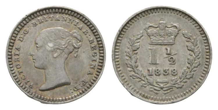 English Milled Coins - Victoria - 1838 - Three Halfpence