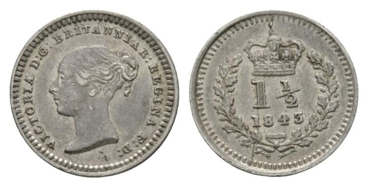 English Milled Coins - Victoria - 1843 - Three Halfpence