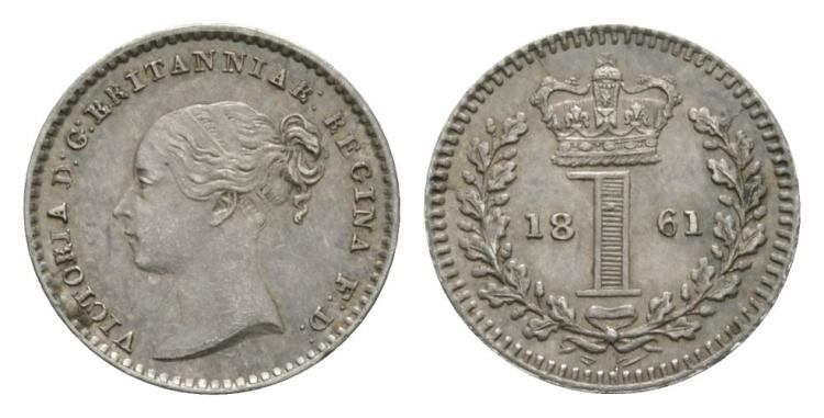 English Milled Coins - Victoria - 1861 - Maundy Penny