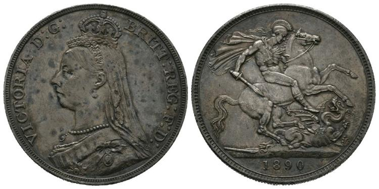 English Milled Coins - Victoria - 1890 - Crown