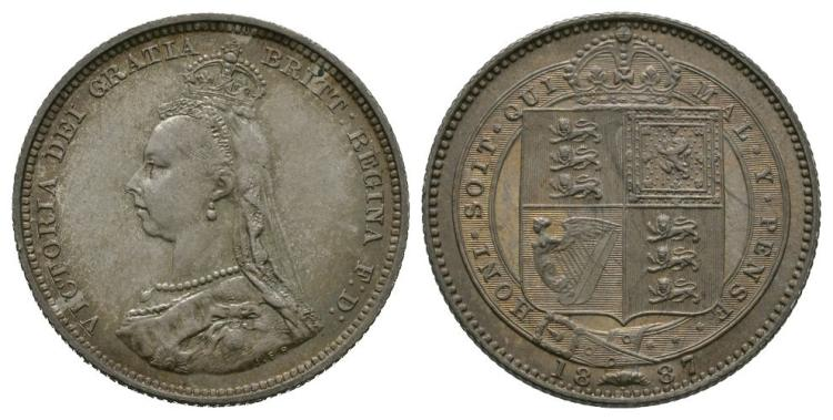 English Milled Coins - Victoria - 1887 - Shilling