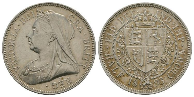 English Milled Coins - Victoria - 1893 - Halfcrown