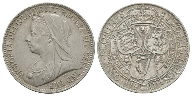 English Milled Coins - Victoria - 1901 - Florin