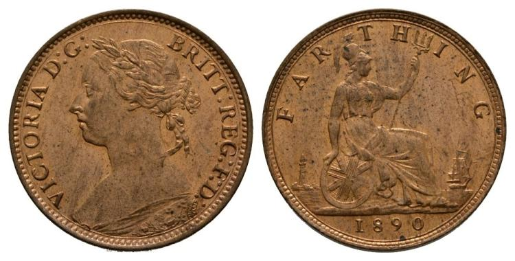 English Milled Coins - Victoria - 1890 - Farthing