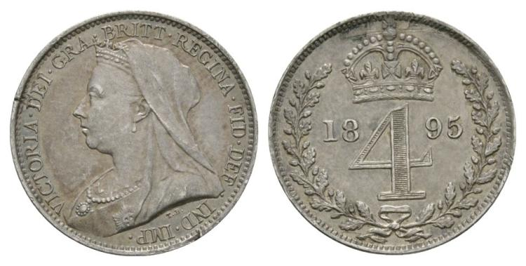 English Milled Coins - Victoria - 1895 - Maundy Groat