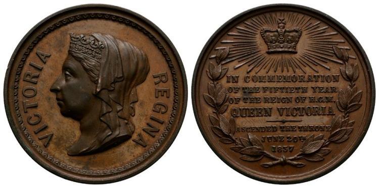 English Commemorative Medals - Victoria - 1887 - Golden Jubilee Copper Medallion