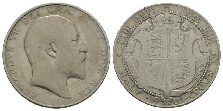 English Milled Coins - Edward VII - 1903 - Halfcrown