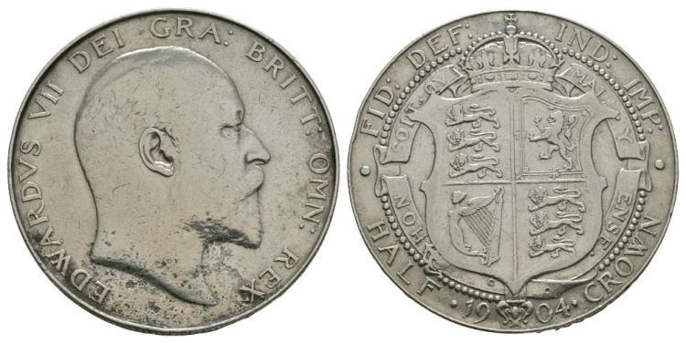 English Milled Coins - Edward VII - 1904 - Halfcrown