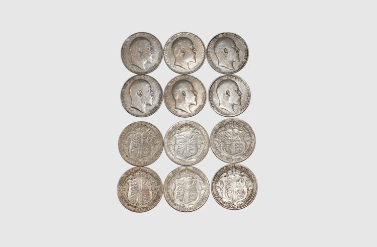 English Milled Coins - Edward VII - 1902, 1906, 1907, 1908, 1909, 1910 - Halfcrowns [6]