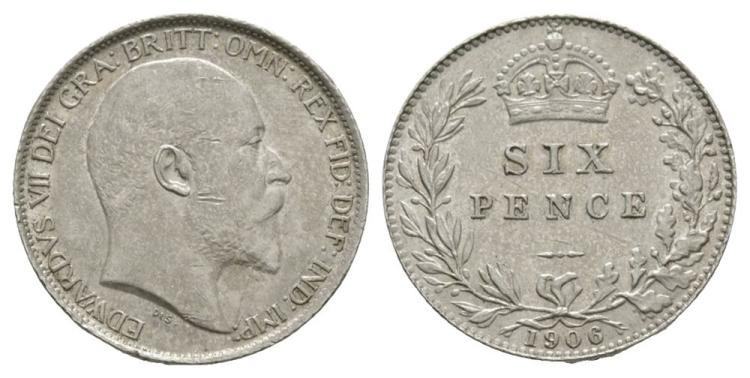 English Milled Coins - Edward VII - 1906 - Sixpence