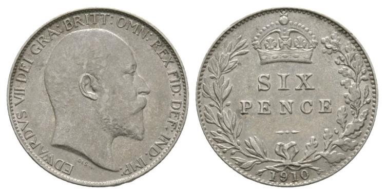 English Milled Coins - Edward VII - 1910 - Sixpence