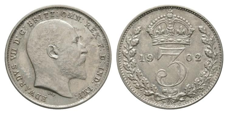 English Milled Coins - Edward VII - 1902 - Matt Proof Threepence