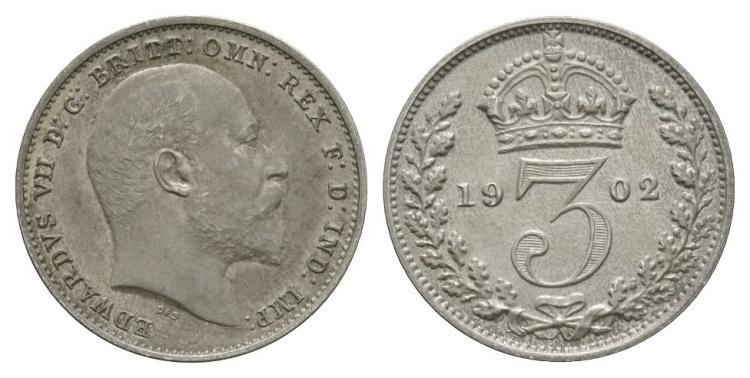 English Milled Coins - Edward VII - 1902 - Threepence