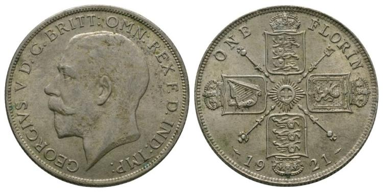 English Milled Coins - George V - 1921 - Florin