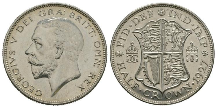 English Milled Coins - George V - 1927 - Proof Halfcrown