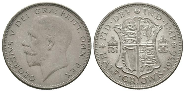 English Milled Coins - George V - 1936 - Halfcrown