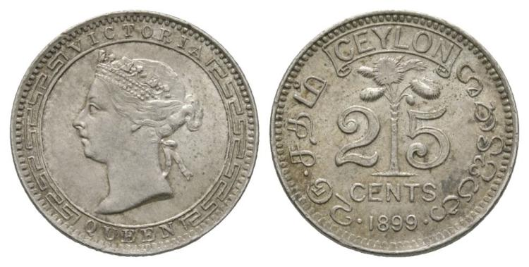 World Coins - Ceylon - British - 1899 - 25 Cents