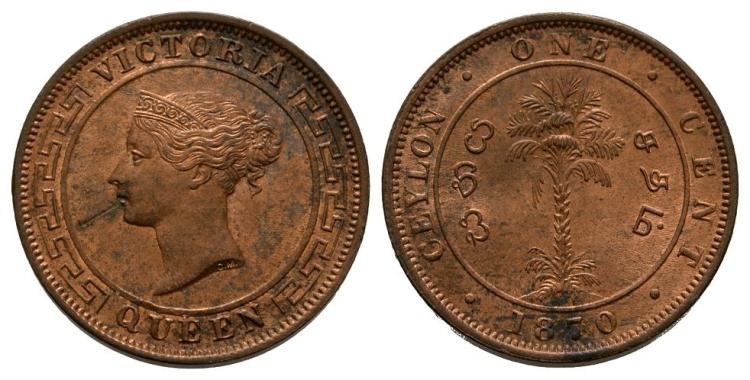 World Coins - Ceylon - British - 1870 - 1 Cent