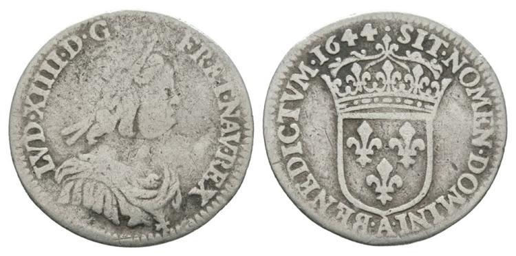 World Coins - France - 1644 - 1/12 Ecu (10 Sols)