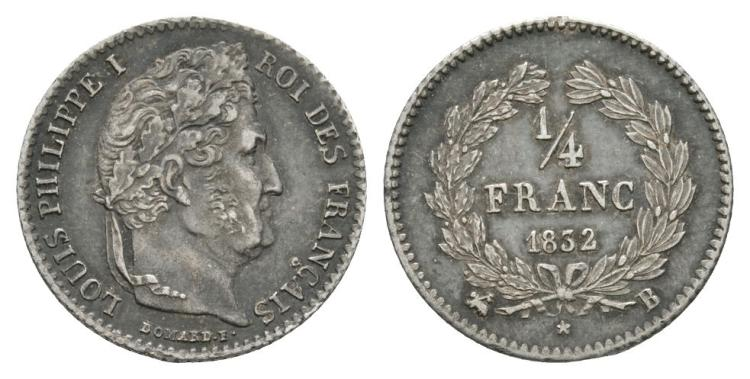 World Coins - France - Louis Philippe I - 1832 - 1/4 Franc