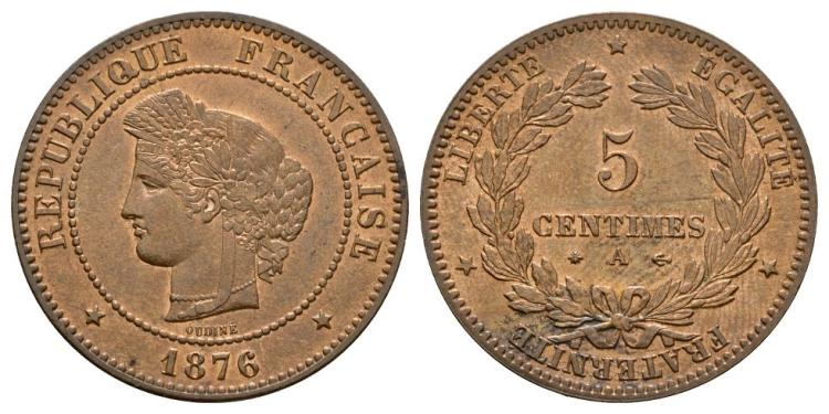 World Coins - France - 1876 A - 5 Centimes