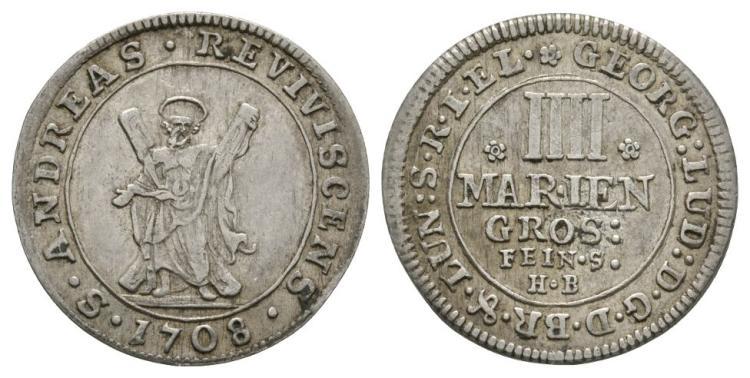 World Coins - German States - Brunswick-Luneberg-Calenberg-Hannover - 1708 HB - 4 Mariengroschen