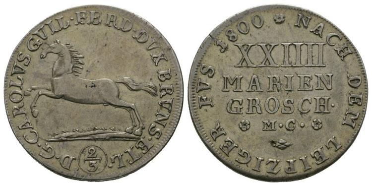 World Coins - German States - Brunswick-Wolfenbuttel - 1800 - 24 Mariengroschen (2/3 Thaler)
