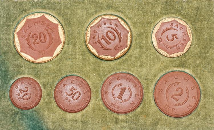 World Coins - German States - Saxony - 1921 - Cased Porcelain Notgeld Coin Set [7]