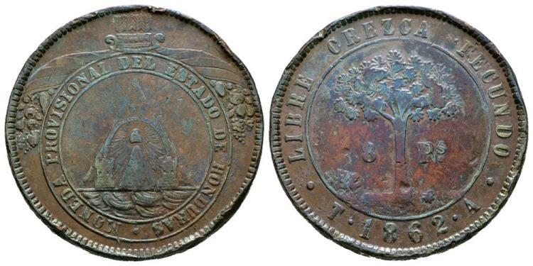 World Coins - Honduras - 1862 - 8 Pesos