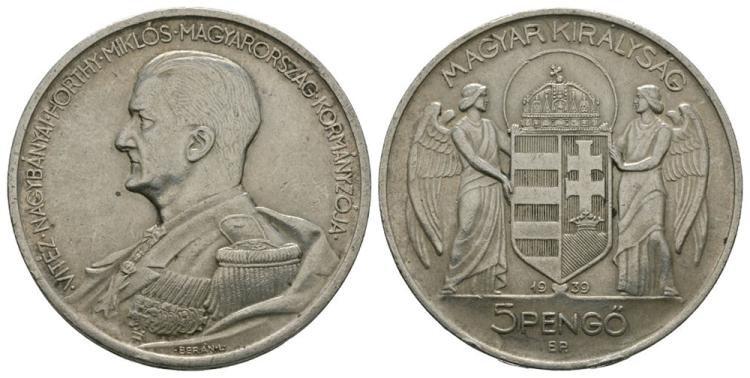 World Coins - Hungary - 1939 - 5 Pengo