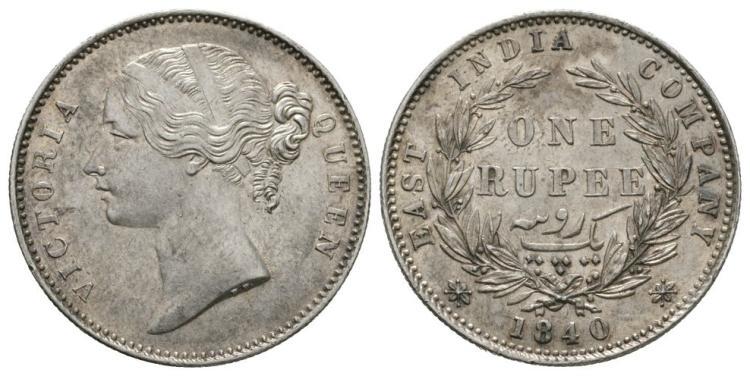 World Coins - India - British - 1840 - Rupee