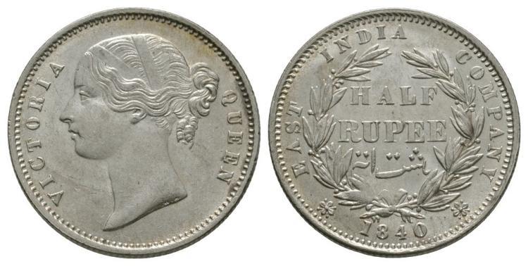 World Coins - India - British - 1840 - 1/2 Rupee