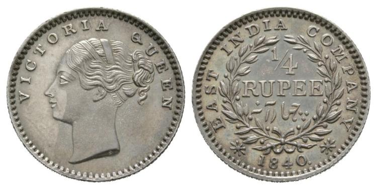 World Coins - India - East India Company - 1840 - 1/4 Rupee