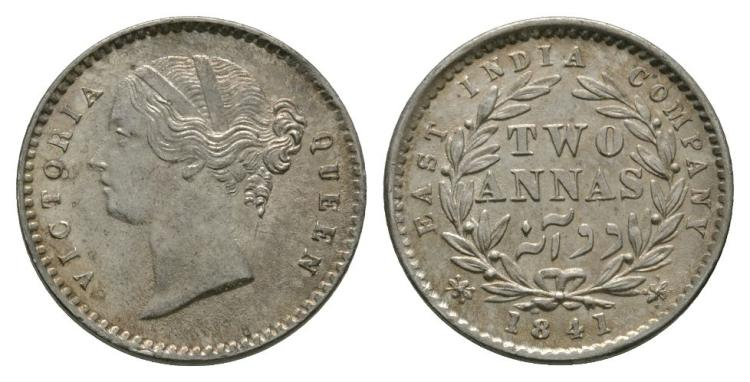 World Coins - India - British - 1841 - 2 Annas