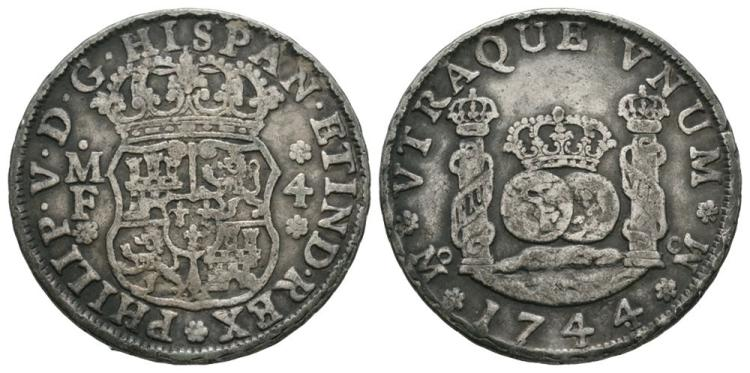 World Coins - Mexico - Philip V - 1744 - 4 Reals