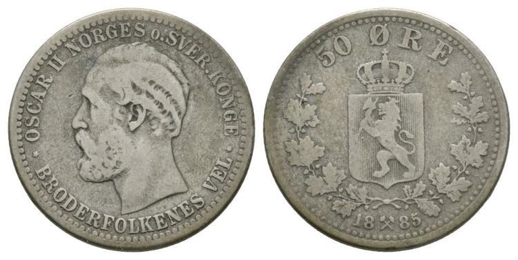 World Coins - Norway - Oscar II - 1885 - 50 Ore