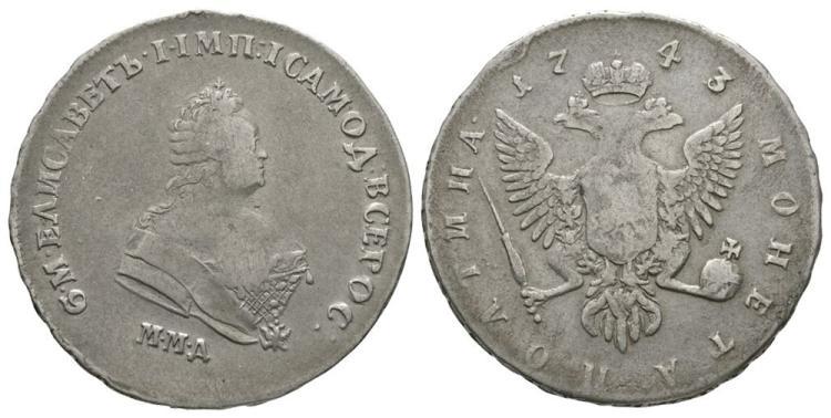 World Coins - Russia - Elizabeth - 1743 - Poltina (1/2 Rouble)