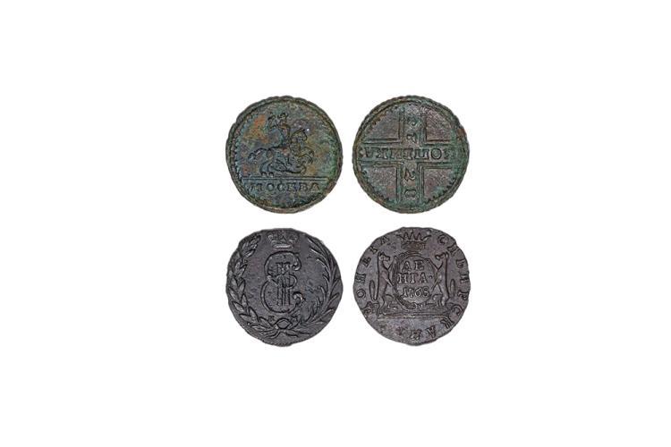 World Coins - Russia and Siberia - Peter II and Catherine II -1728 and 1768 - Kopek and Denga [2]