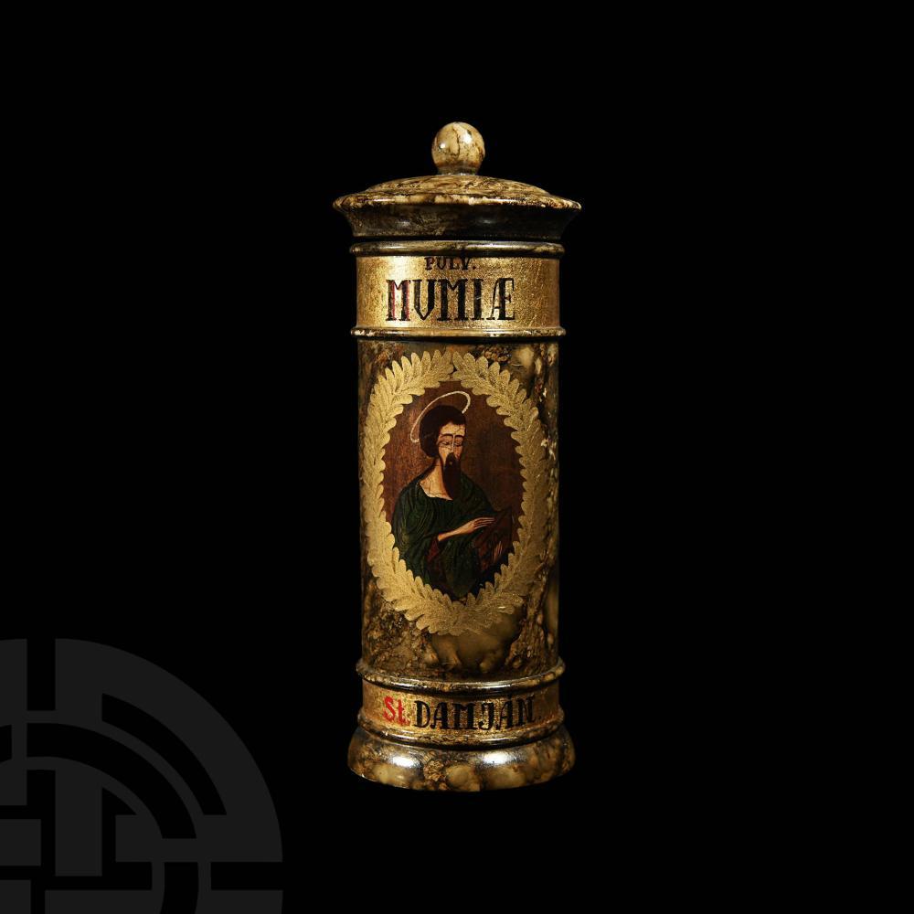Vintage Gilt Pulvis Mumiae Apothecary Jar