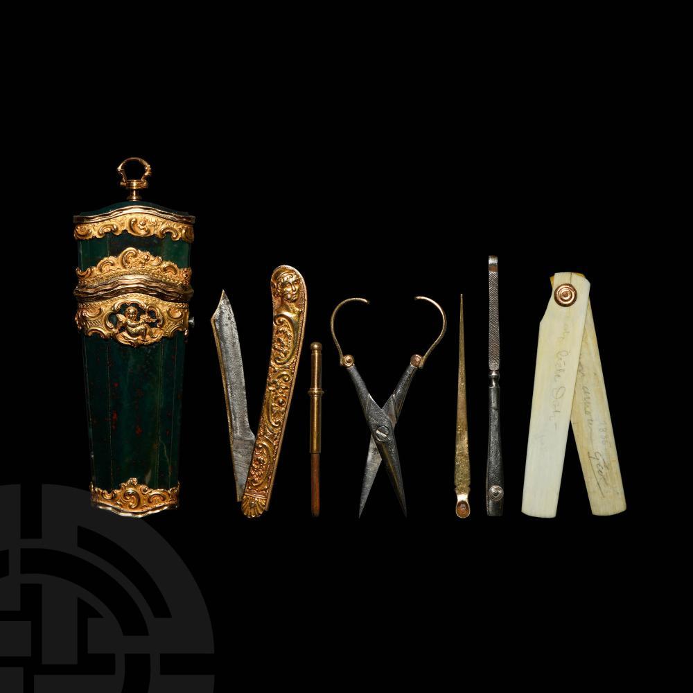 French Gold Mounted Bloodstone Chatelaine